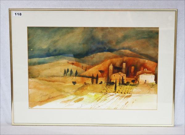 Lot 118: Aquarell 'Abstrakte Landschaft', signiert Ofer...