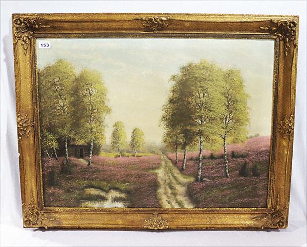 Lot 153: Gemälde ÖL/Hartfaser 'Badersee mit Waxensteine...